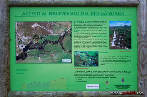 Cartel en el Nacimiento del río Gándara