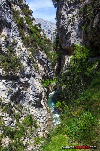 El Río Cares en un desfiladero