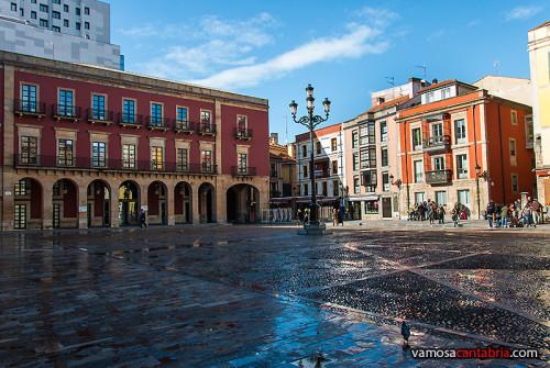 Plaza mojada en Gijón