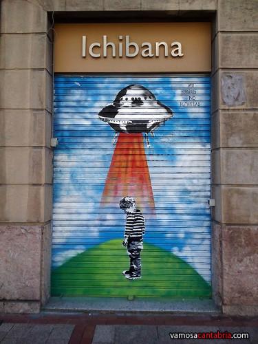 Mural en una puerta de Bilbao